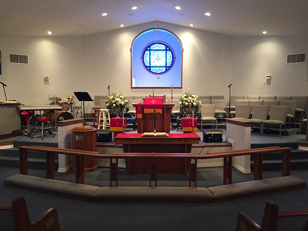 Pew Upholstery project at Warner Temple AMEZ Wilmington, NC